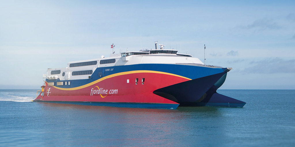 Fjord Line's speedy HSC Fjord Cat takes you between Hirtshals and Kristiansand in just 2 hours and 15 minutes.