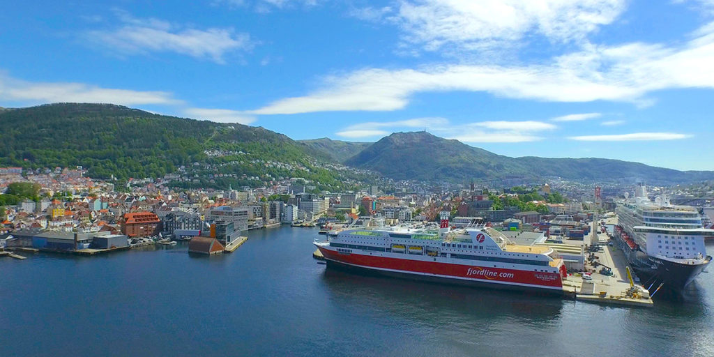 Fjord Line's cruise ferry MS Bergensfjord docks at the Hurtigruten terminal in Bergen.