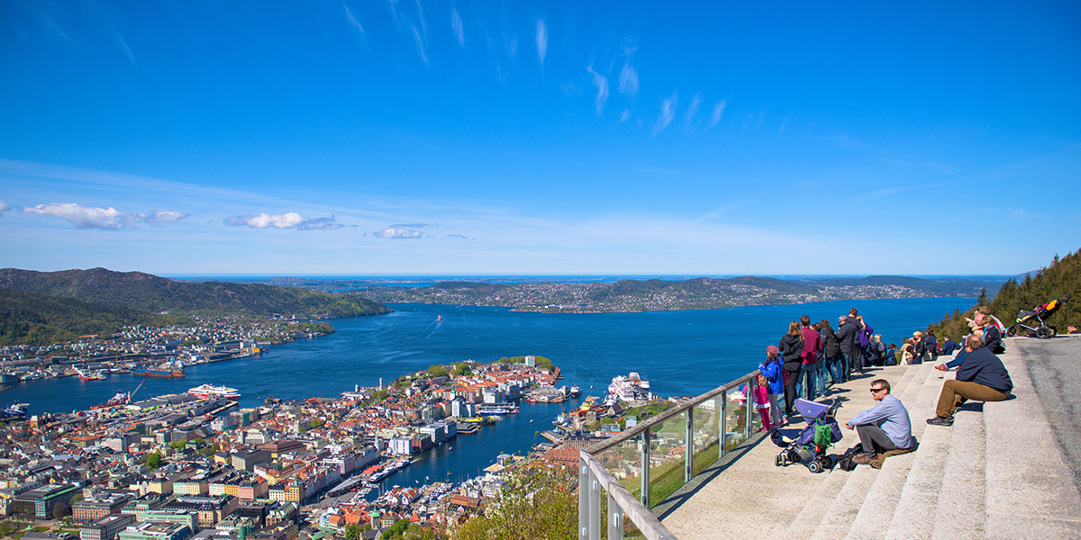 Fantastic views from Fløyen. Photo: Sverre Hjørnevik / www.fjordnorway.com