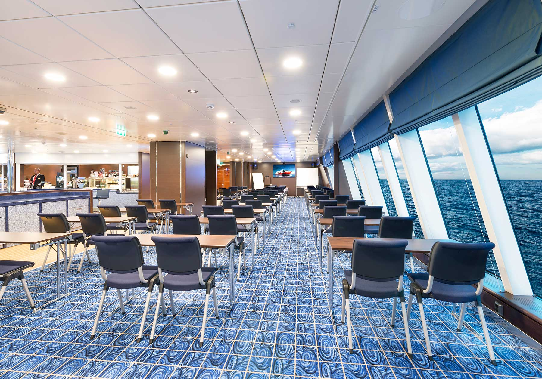 Conference rooms with modern facilities and sea views.
