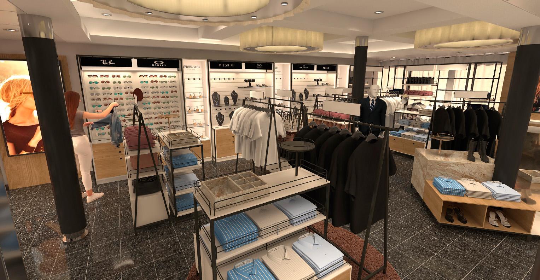 Ny butikk: I løpet av januar 2019 bygges det ny klesbutikk om bord på både MS Stavangerfjord og MS Bergensfjord. Disse skissene viser hvordan det kommer til å se ut - flott, ikke sant?