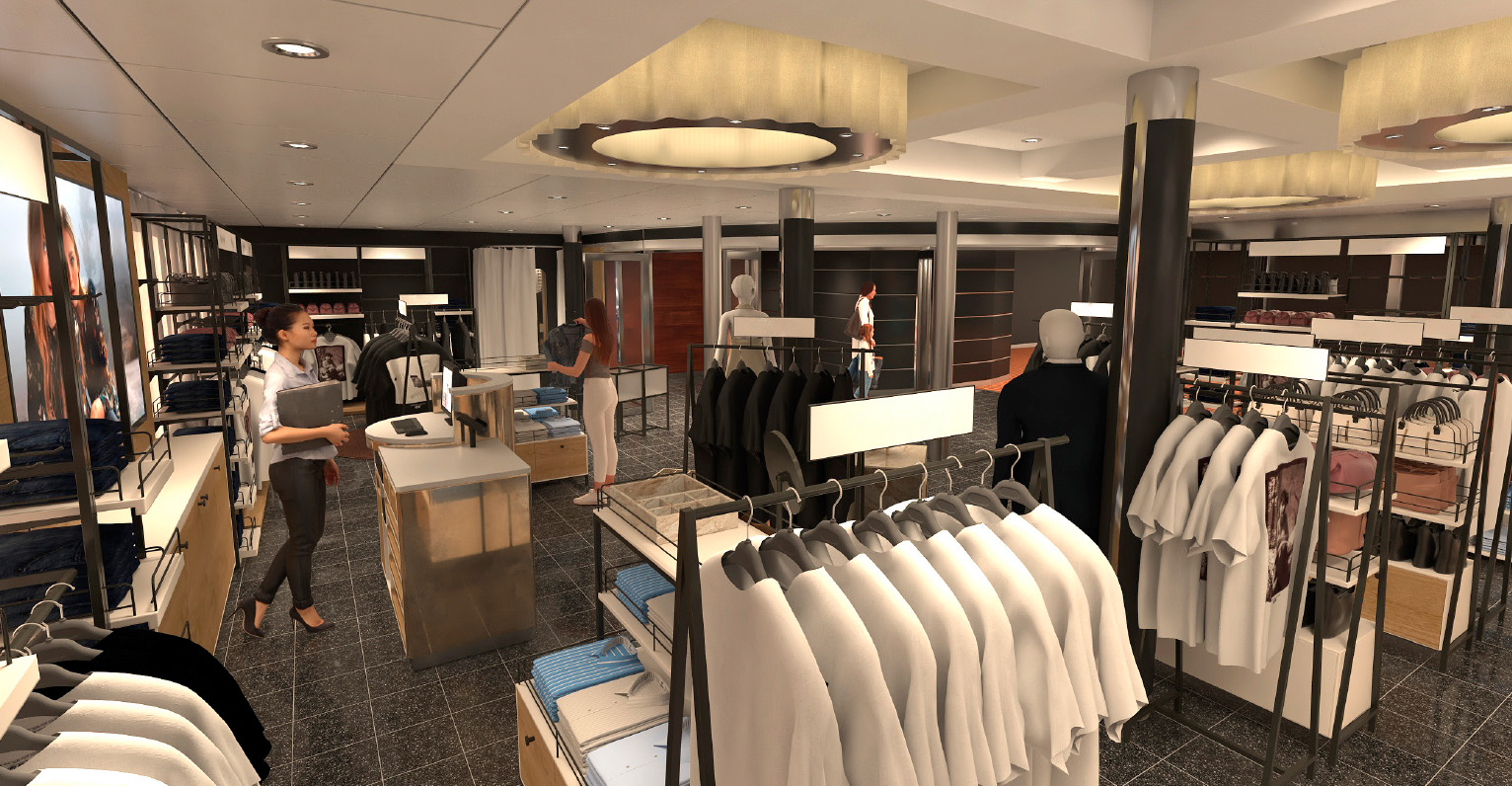 Får stor plass: Den nye klesbutikken finner du på dekk 7. Her får klesmerkene våre sin rettsmessige plass og tilbehøret selvfølgelig - alt fra vesker til solbriller og smykker finner du her!