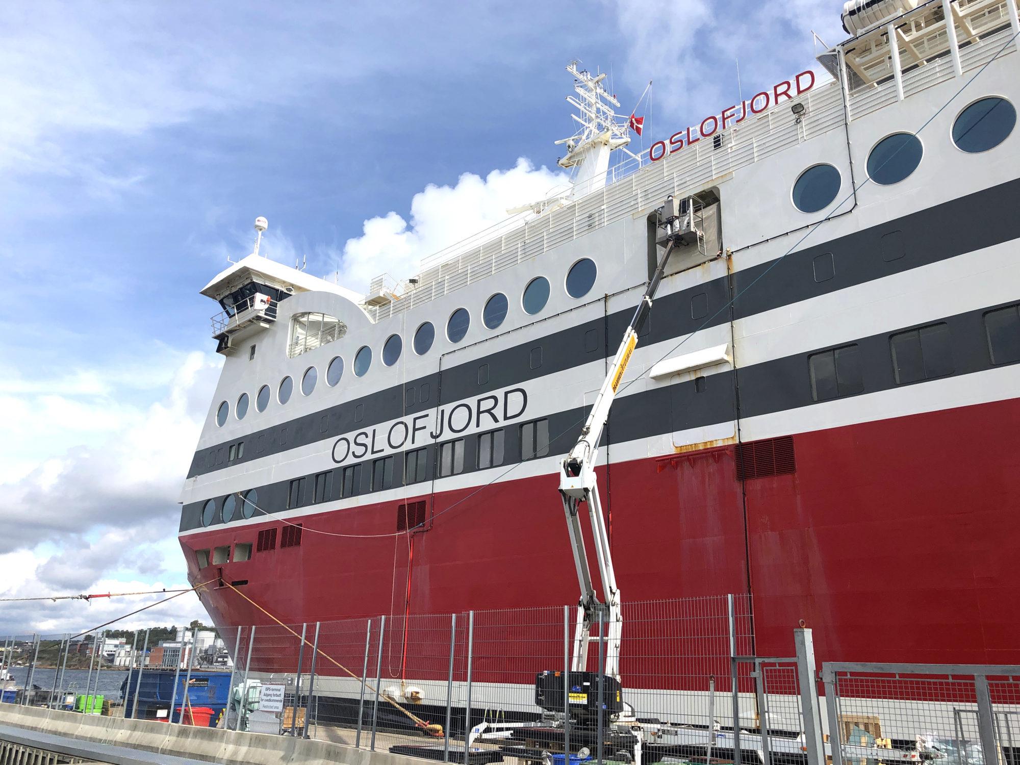 Korona-fast. MS Osjofjord ligger koronafast ved Thorøya i Sandefjord. Med unntak av et par uker mellom Langesund og Hirtshals i juni, har hun ligget der siden midten av mars. Foto: Fjord Line