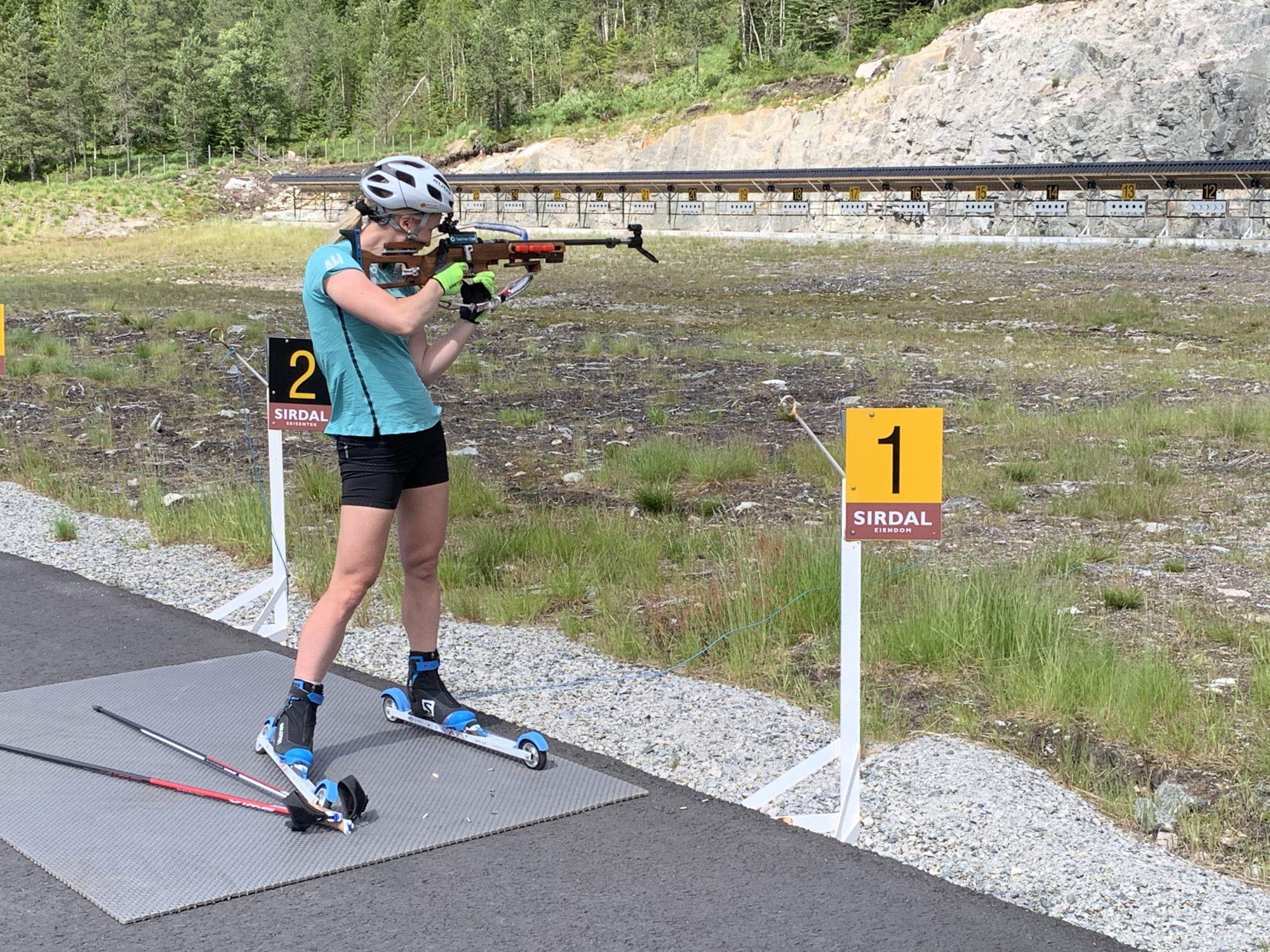 Treffsicher. Marte konzentriert sich auf die kleinsten Details und überlässt nichts dem Zufall. Hier beim Training in Sirdal im Sommer 2021. Foto: Fjord Line
